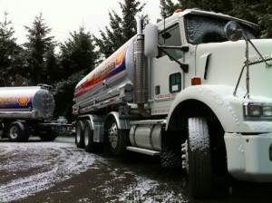 truck and trailer in snow